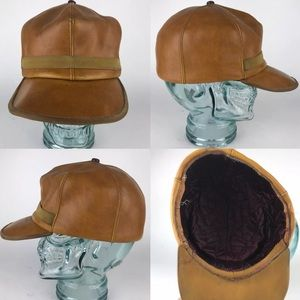 Other - Leather Distressed Fitted Hat Quilted Lining